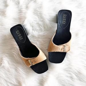 Gucci Pony Hair Square Open Toe Wooden Mules